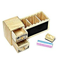 Creative Wooden Desk Pencil Container Holder with Drawer and Blackboard