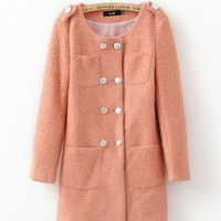 Double Breasted Wool Coat Pink$62.00