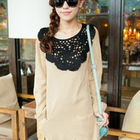 Beige Hook Flower Brought Lantern Sleeve Sweater$39.00