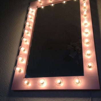 "Lighted ""Pretty n Pink "" vanity  make up glamor beauty all purpose mirror. Pine wood frame, painted Candy Pink, with a semi gloss finish."