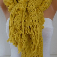Mustard Knitted Lace Scarf Winter Accessories Shawl Scarf Cowl Scarf Gift Ideas For Her Women's Fashion Accessories Christmas Gift