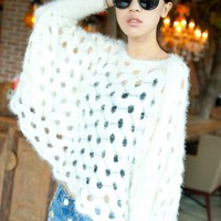 White Rabbit Hair Hollow-out Bat Type Sweater$40.00