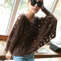 Brown Rabbit Hair Hollow-out Bat Type Sweater$40.00