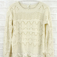 Beige Hook flower lace sweater $39.00
