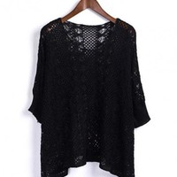 Black 3/4 Length Sleeve Hollow Sweater$40.00