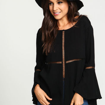 Black Cut Out Bell Crepe Top