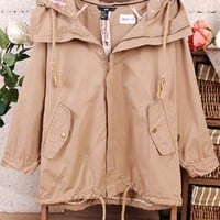 Beige Cotton Drawstring Hooded Trench Coat $44.00