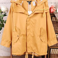 Cotton Drawstring Hooded Trench Coat $44.00