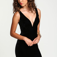 Plunge Velvet Bodycon Dress