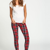 Red Plaid Knit Leggings