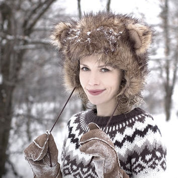Teddy Bear Hat - Unisex - Winter Hats - Winter Fashion Accessory - Perfect Fit - Chunky Fake Faux Fur - Soft - Fleece Lining - AW14/15