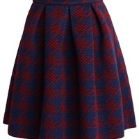 Houndstooth Quilted Skirt in Red Red