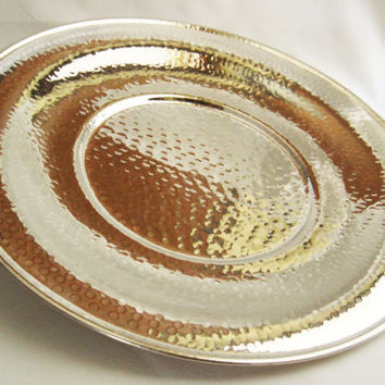 Vintage shiny large round hand hammered high quality silver plated tray - coffee table decor - made in Italy