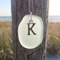 Sterling Silver Sea Glass Initial  Necklace in Pale Aqua by WaveofLife