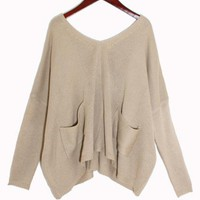 Beige Bat Long Sleeve Sweater$40.00