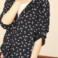 Lace Cap Anchor Floral Cardigan Trench Coat $45.00