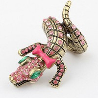 Metal Croco Ring With Sotnes Embellish