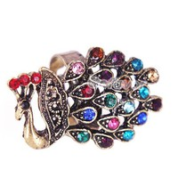 Adjustable Rhinestone Coppery Peacock Cocktail Animal Ring at Jewelry Store Gofavor