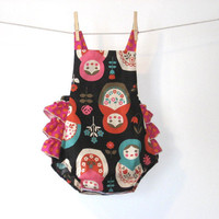 Matryoshka Russian doll sun suit romper with pink by TheMeasure