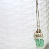 Robins Egg Blue Chrysoprase Faceted Teardrop Pearl Silver Bali Box Chain Pendant Necklace Fizz Candy