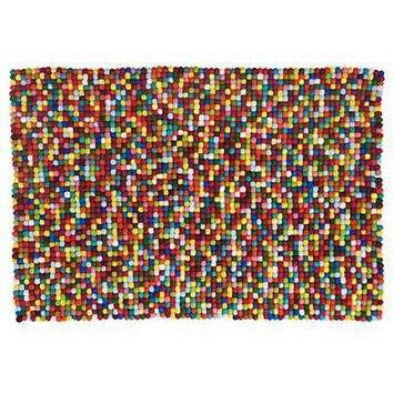 The Land of Nod: Kids' Rugs: Kids Multi-colored Wool Dot Rug in All Rugs