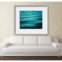 16x20 Large Wall Art - Beach Landscape - Minimalist Wall Decor Blue, Turquoise, Aqua, Waves, Water, Beach Art, Large Wall Photography