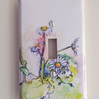 Daisies Decorative Light Switch Plate Cover Made From by idillard