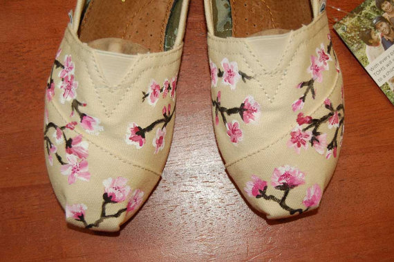 Custom TOMS  another Cherry Blossom Design shoes by purplelizard64