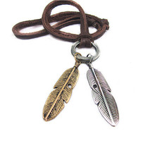 soft leather necklace,metal feather pendant men leather long necklace, women leather necklace  PL0215