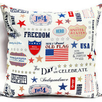 Throw Pillow cover  - United States, Decorative cushion cover, 18x18 inch pillow, envelope closure