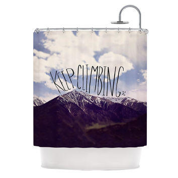 "Leah Flores ""Keep Climbing"" Mountain Quote Shower Curtain - 69"" x 70"" / Polyester"