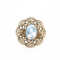 Blue Stone Flower Ring