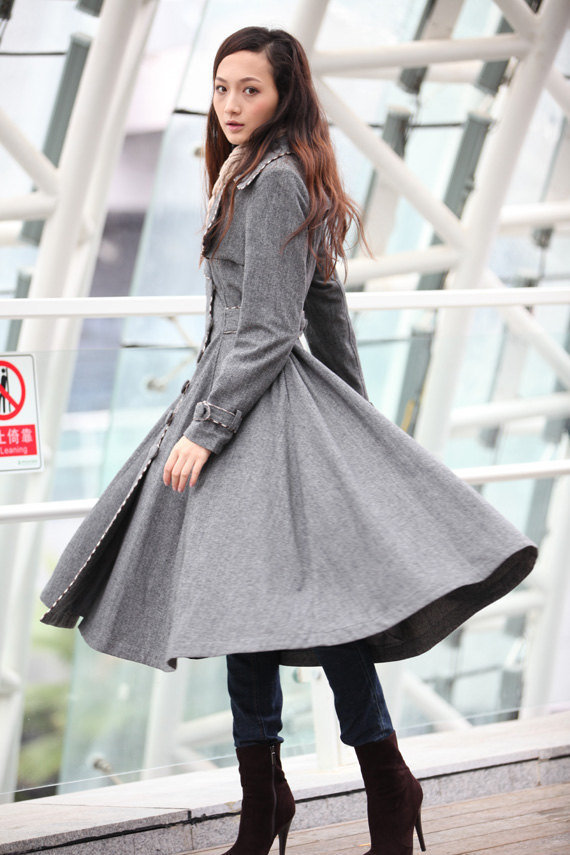 Grey Cashmere Coat Big Sweep Women Wool Winter Coat Long Jacket Tunic - NC222