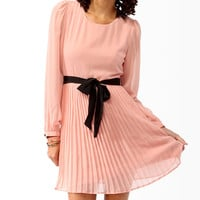 Pleated A-Line Dress w/ Self-Tie