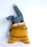 Little SockRabbit, mustard sweater