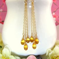 Triple citrine tear drop gold dangle earrings