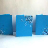 Electric Blue Hand Drawn Greeting Cards -Set of 3-  100% Charity Donation - Envelopes included
