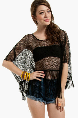 Fringe With Benefits Poncho Top $29 (on sale from $42)