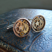 Clockwork Cufflinks Model One Soldered by amechanicalmind on Etsy