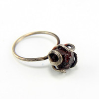 RING with Natural Garnet Stone, Sterling Silver, Hammered, Forged. Handmade. Organic and Rustic in style.