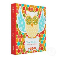 Owl Boheme White Binder from Zazzle.com
