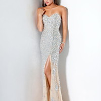 Jovani 4247 Shimmering Evening Gown Silver/Nude Sz 0 to 14 New NWT Prom