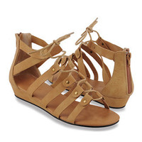 Buckled Lace-Up Sandals