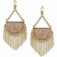 House of Harlow 1960 14KT Gold Tassel Crescent Earrings