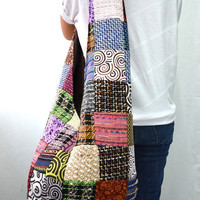 Hmong Patchwork Hip Boho Hobo Crossbody Messenger Bag PW6203