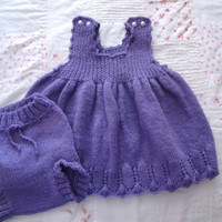 Purple Dress and Bloomers Size 2 Hand Knit Jumper Dress and Diaper Cover Baby/Toddler Holiday Outfit