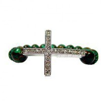 Sideways Cross Bracelet With Green Sponge Quartz