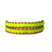 Double Row Lemon Jade Leather Wrap Bracelet