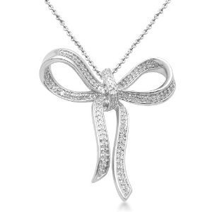 "Amazon.com: Sterling Silver Bow Diamond Pendant (1/5 Cttw, I-J Color, I3 Clarity), 18"": Jewelry"