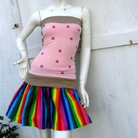 NYAN CAT PopTart S-1X costume shirt & rainbow Skirt Cosplay Halloween Kawaii